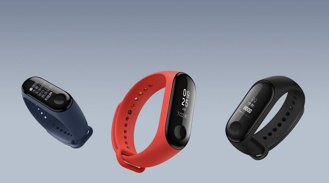 xiaomi mi band 3 in 3 different colors