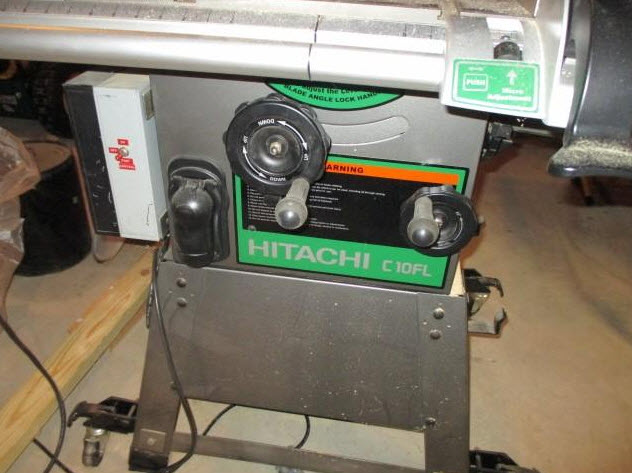 hitachi c10fl table saw side view