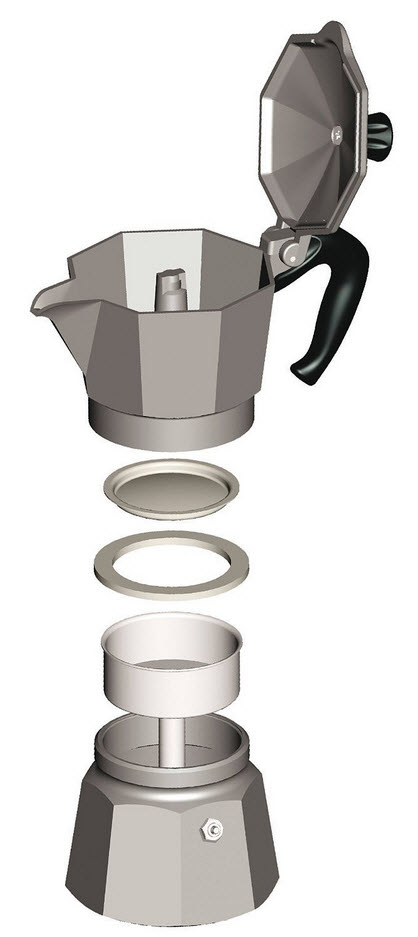 parts of a Bialetti coffee maker