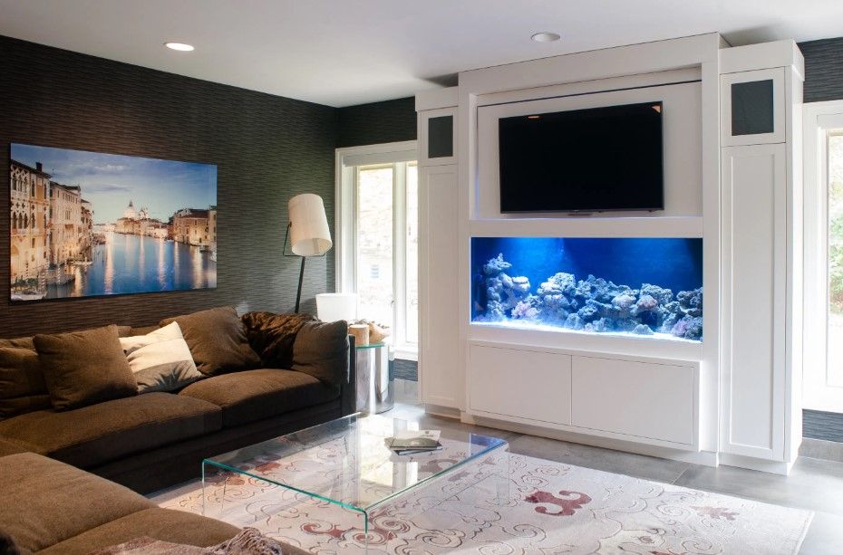 A white aquarium in the living room